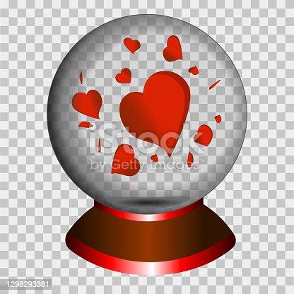 istock illustration red heart graphics love bol decorative snow globe with heart 1298293381