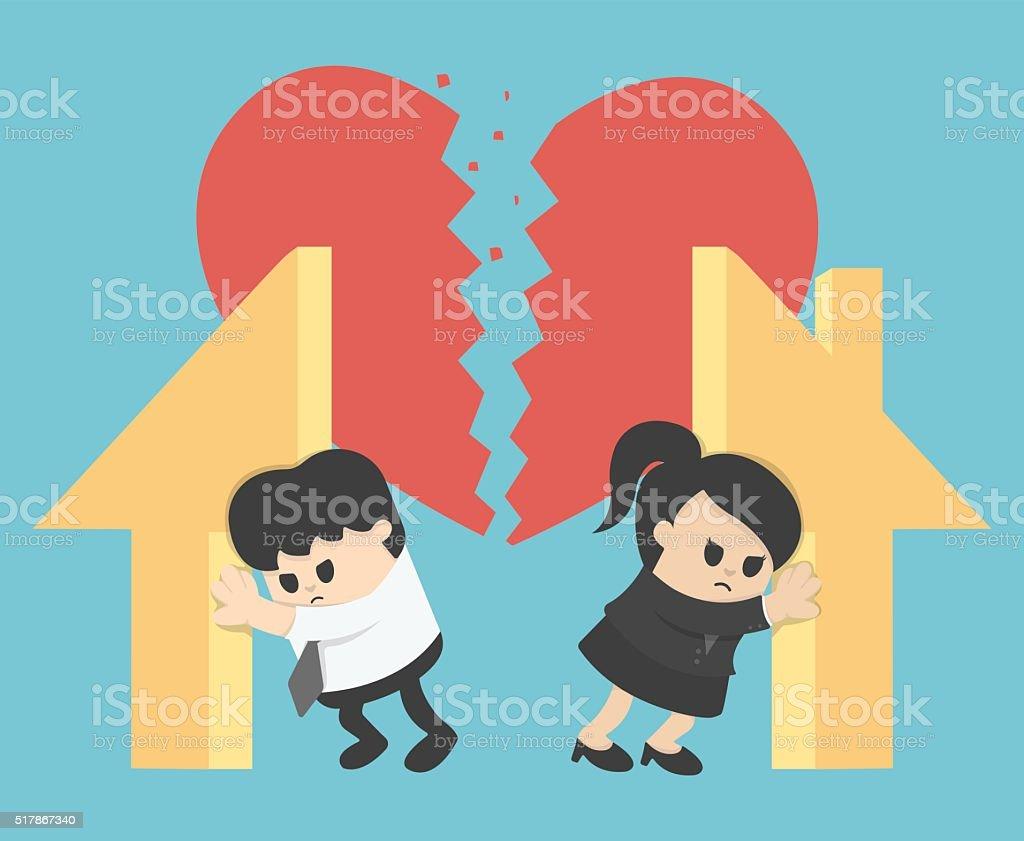 Illustration Relationship Divorce,division of property vector art illustration