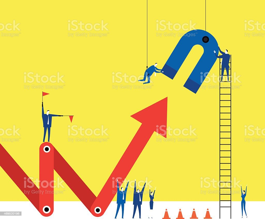 Illustration representing make the arrow up by the magnet vector art illustration
