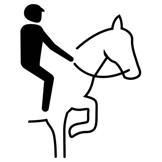 illustration represents sport pictogram equestrian, dressage, marching mode. ideal for sports and institutional materials - clip art of a black and white barn stock illustrations, clip art, cartoons, & icons