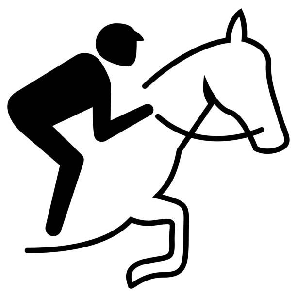 illustration represents sport pictogram equestrian, jump mode with obstacle. ideal for sports and institutional materials - clip art of a black and white barn stock illustrations, clip art, cartoons, & icons