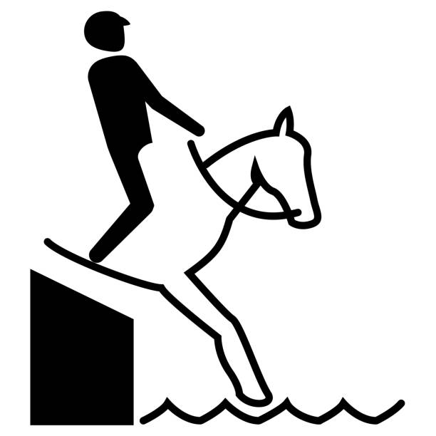 illustration represents sport pictogram equestrian, jump mode with barrier. ideal for sports and institutional materials - clip art of a black and white barn stock illustrations, clip art, cartoons, & icons