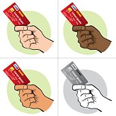 Illustration represents the close-up of a hand holding a credit card, ethnicity. Ideal for financial campaigns