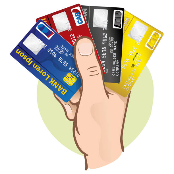 Illustration represents the close-up of a hand holding a credit cards, Caucasian. Ideal for financial campaigns vector art illustration