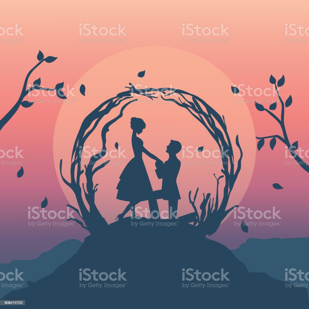 illustration vecteur de couple romantique - Illustration vectorielle