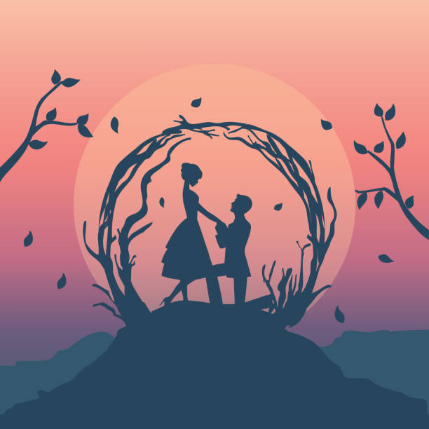 illustration romantic couple vector - kiss stock illustrations