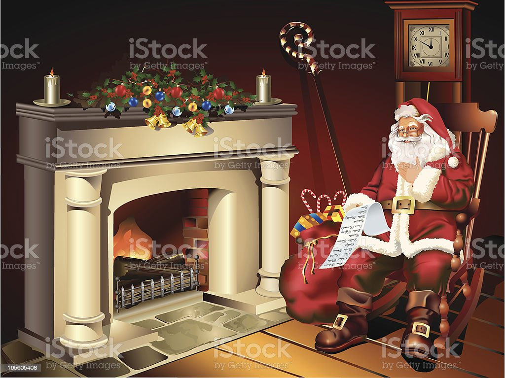 Camino Di Babbo Natale.Illustrazione Di Babbo Natale Seduto Accanto Al Caminetto