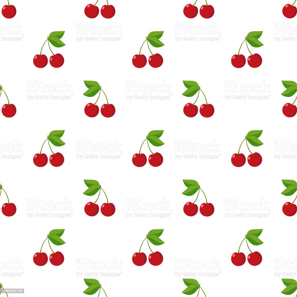 Illustration Seamless pattern Flat Cherry isolated on white background , fruit patterns texture fabric , wallpaper minimal style , Raw materials fresh fruits , vector vector art illustration