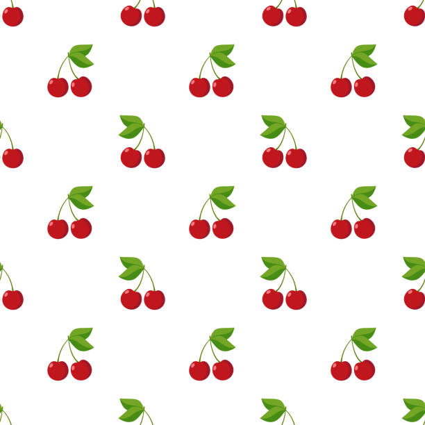 Illustration Seamless pattern Flat Cherry isolated on white background , fruit patterns texture fabric , wallpaper minimal style , Raw materials fresh fruits , vector Illustration Seamless pattern Flat Cherry isolated on white background , fruit patterns texture fabric , wallpaper minimal style , Raw materials fresh fruits , vector cherry stock illustrations