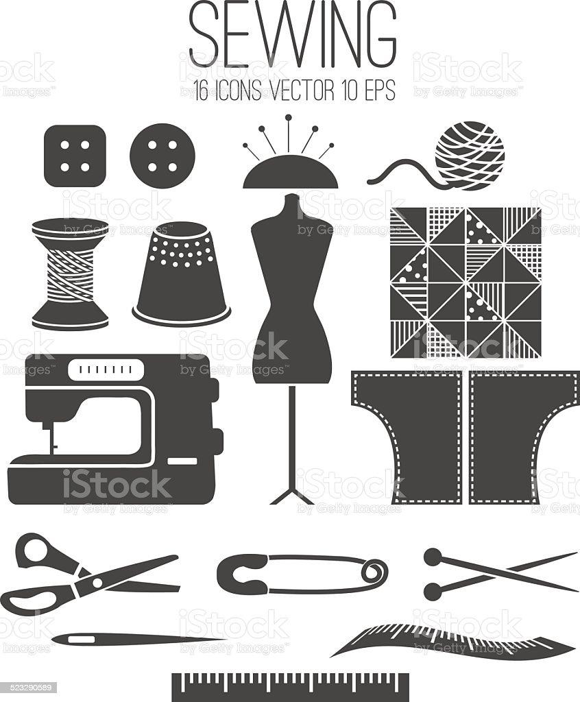 Illustration set icon of sewing .Vector vector art illustration