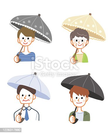 Illustration set of a person with a parasol