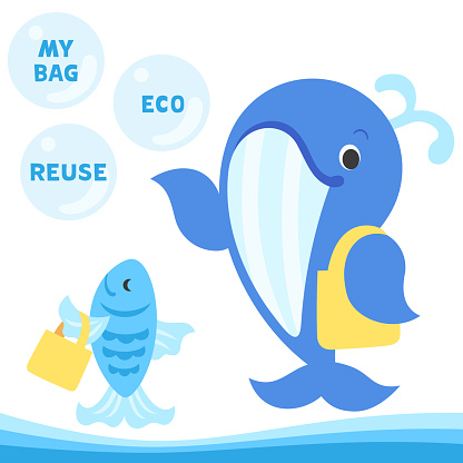 Illustration set of a whale and a fish holding reusable bags