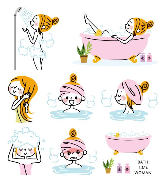 bildbanksillustrationer, clip art samt tecknat material och ikoner med illustration uppsättning av en kvinna som tar ett bad. - japanese bath woman