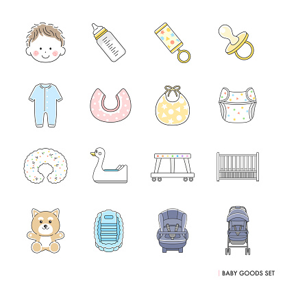 Illustration set of baby goods.
