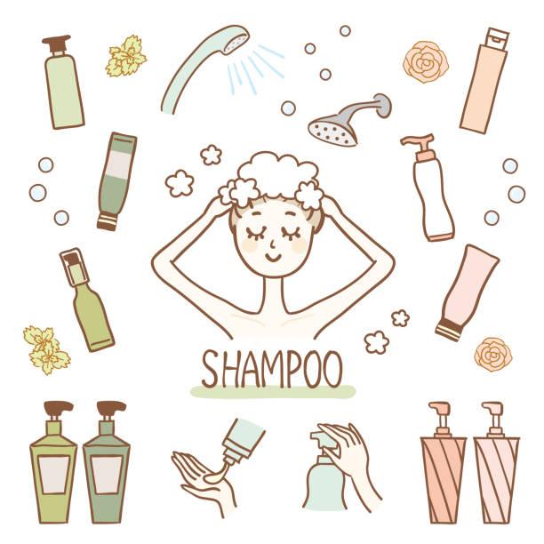 bildbanksillustrationer, clip art samt tecknat material och ikoner med illustration uppsättning av bad produkter - japanese bath woman
