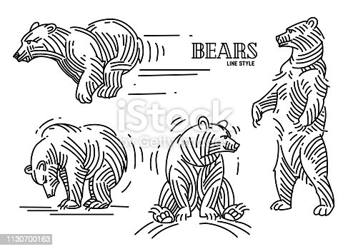 illustration set of bears in linear style