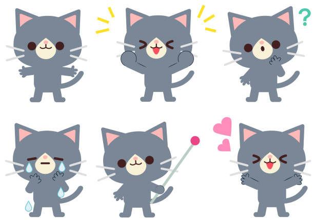 Illustration set of cat gestures and facial expressions vector art illustration