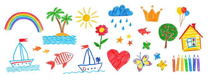 Illustration set of childlike drawings