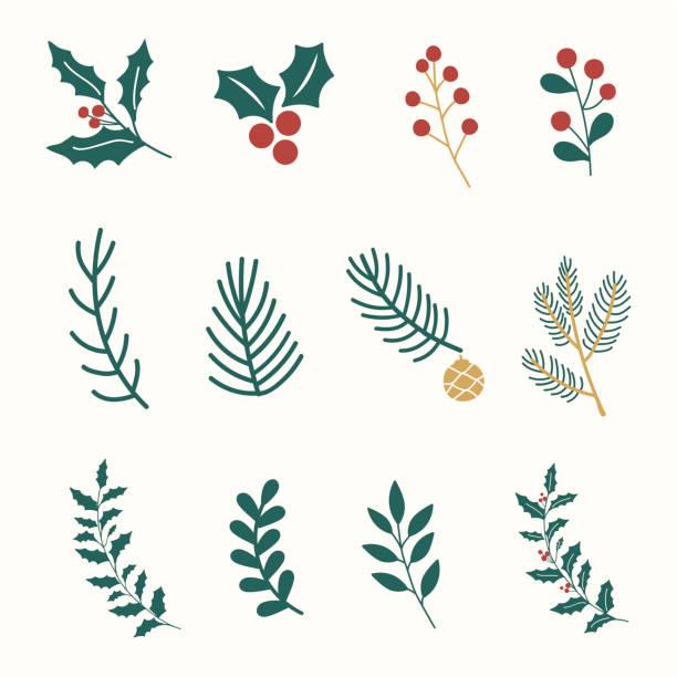 zestaw ilustracji ozdób bożonarodzeniowych - gałązka stock illustrations