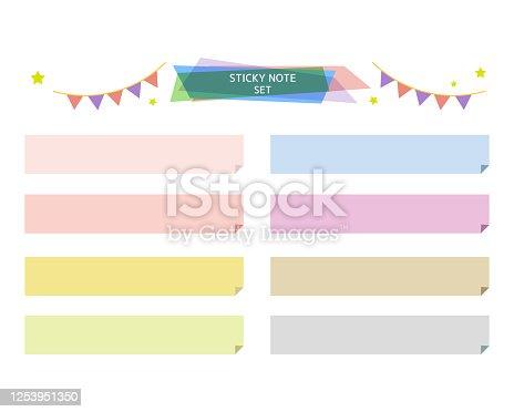 istock Illustration set of colorful masking tape. Star, ribbon, headline, flag 1253951350