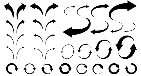 Illustration set of curved arrows for business materials (monochrome)