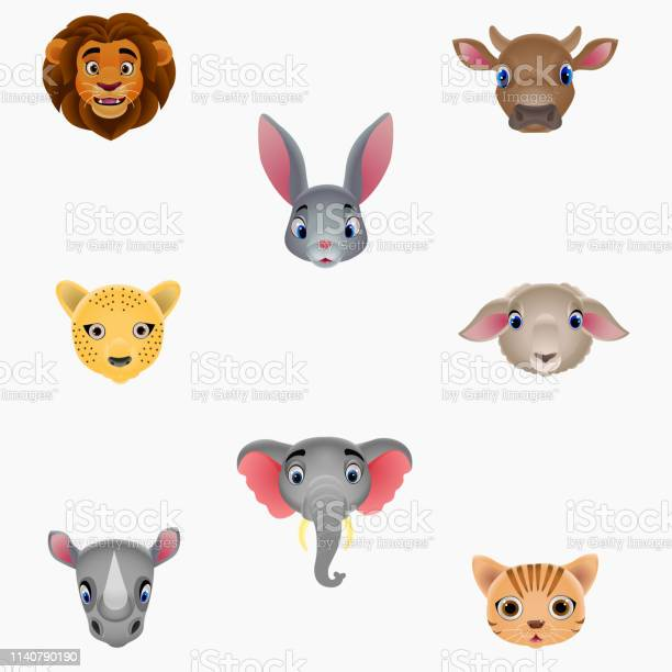 Illustration set of cute animal heads vector id1140790190?b=1&k=6&m=1140790190&s=612x612&h=mesb1bt9cf6fjcr683f2gxrshbrni dh gj1an3izci=
