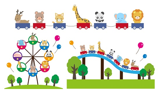 Illustration set of cute animals playing in the amusement park (autumn)