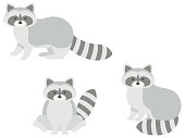 This is an illustration set of cute raccoons standing and sitting.