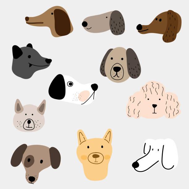 Illustration set of dogs in various styles vector art illustration