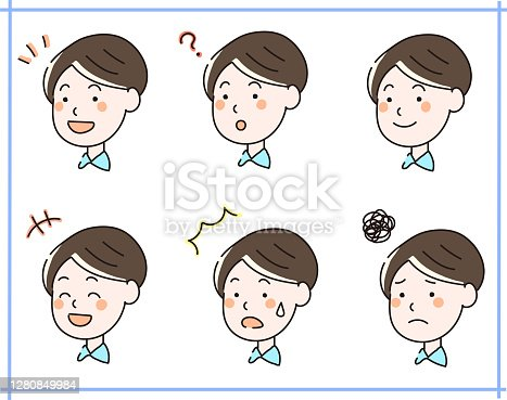istock Illustration set of facial expressions of a young man with short hair 1280849984