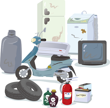 Illustration set of garbage that is difficult to dispose of