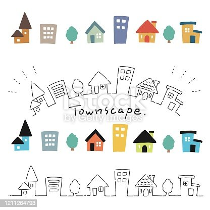 Illustration set of hand-drawn style cute house