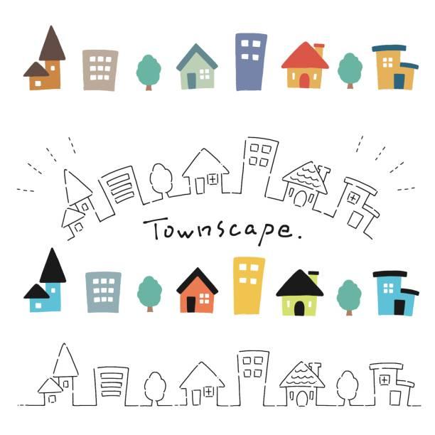 illustration satz von handgezeichneten stil niedlichen haus - kleinstadt stock-grafiken, -clipart, -cartoons und -symbole
