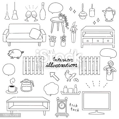 Illustration set of hand-drawn style interior material