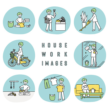 Illustration set of men doing housework