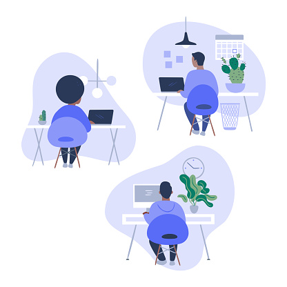 Illustration set of office workers