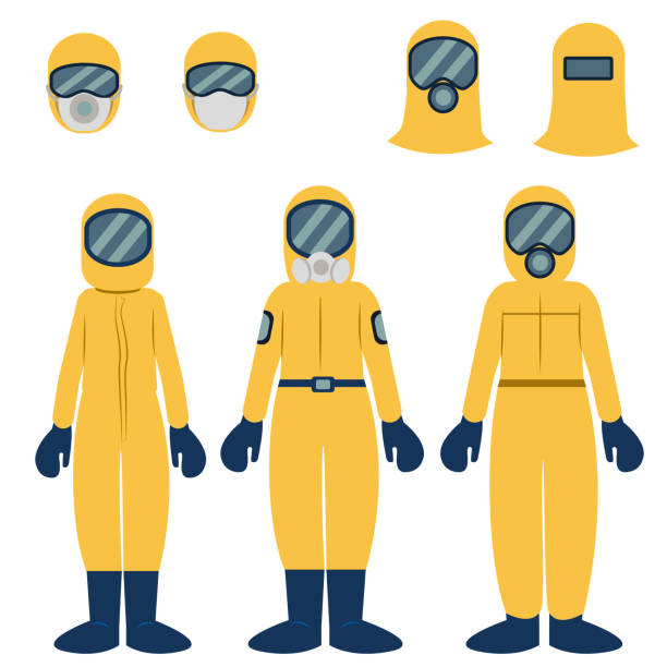 Illustration set of people wearing protective clothing vector art illustration