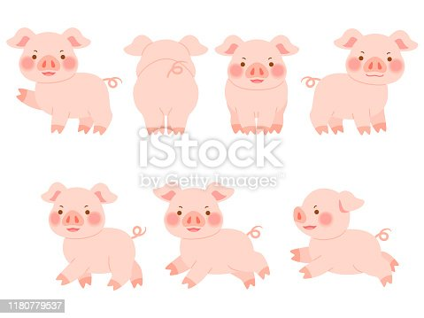 istock Illustration set of quadruped pigs in various directions 1180779537