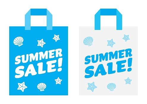 Illustration set of the blue paper bag of the summer sale.