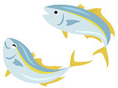 istock Illustration set of two yellowtails bouncing 1226182519
