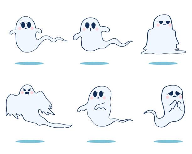 Illustration set of various cute ghosts vector art illustration