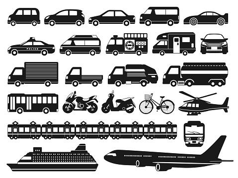 Illustration set of vehicles icons