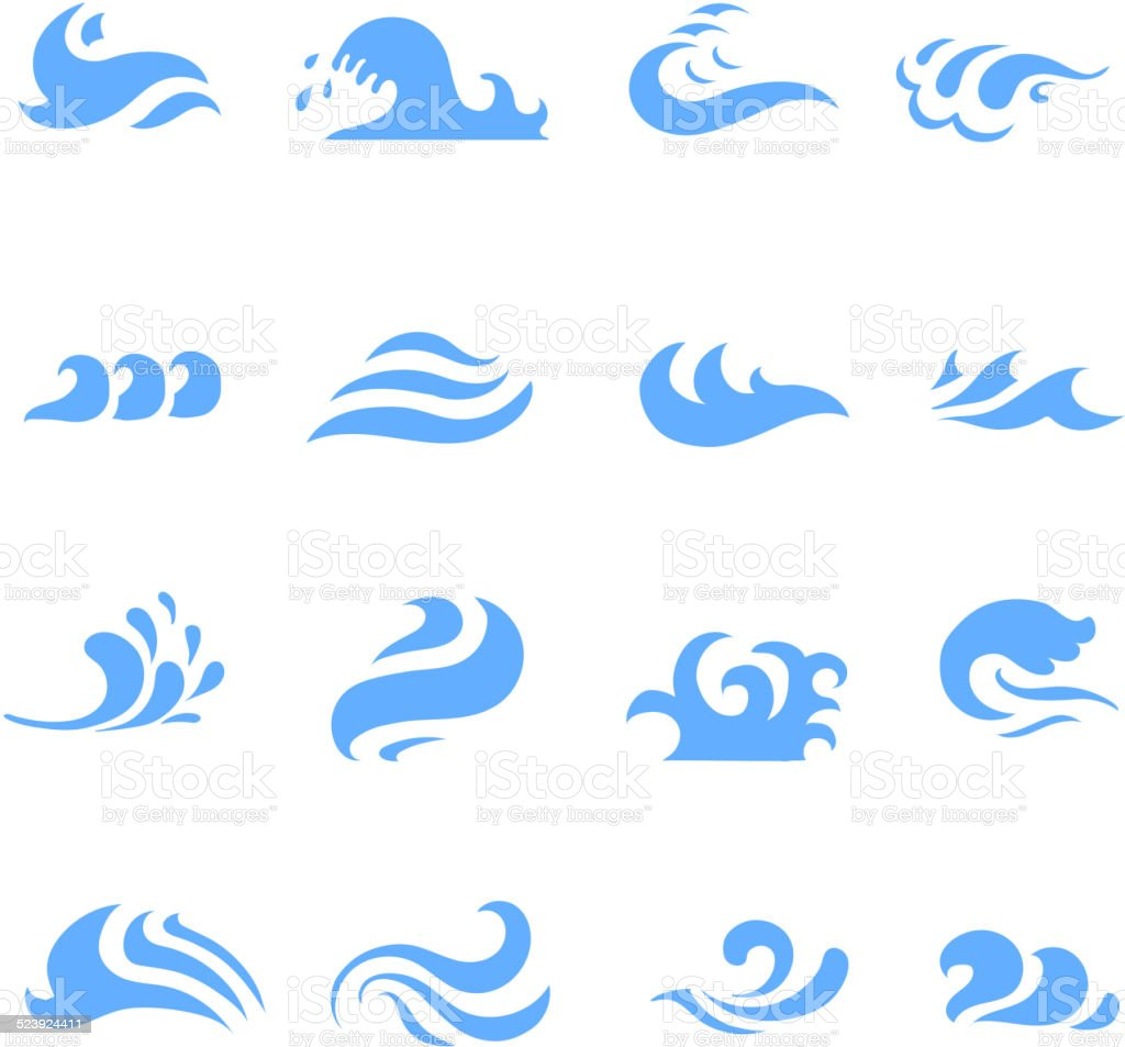 illustration  set of wave symbol on isolated white background vector art illustration