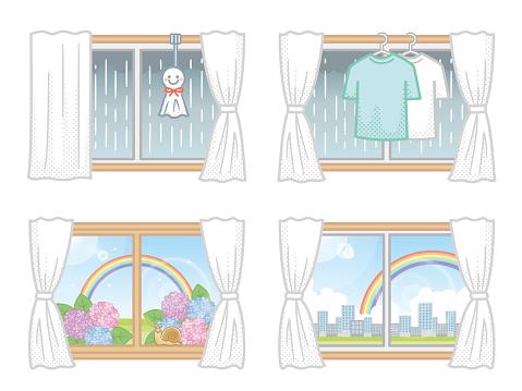 Illustration set of windows related to the rainy season