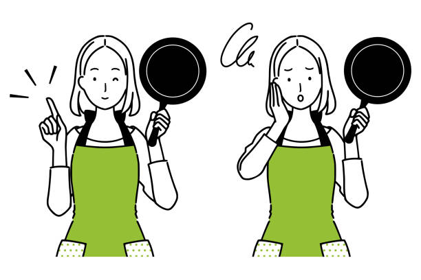 ilustrações de stock, clip art, desenhos animados e ícones de illustration set of woman with cooking utensils. - fail cooking