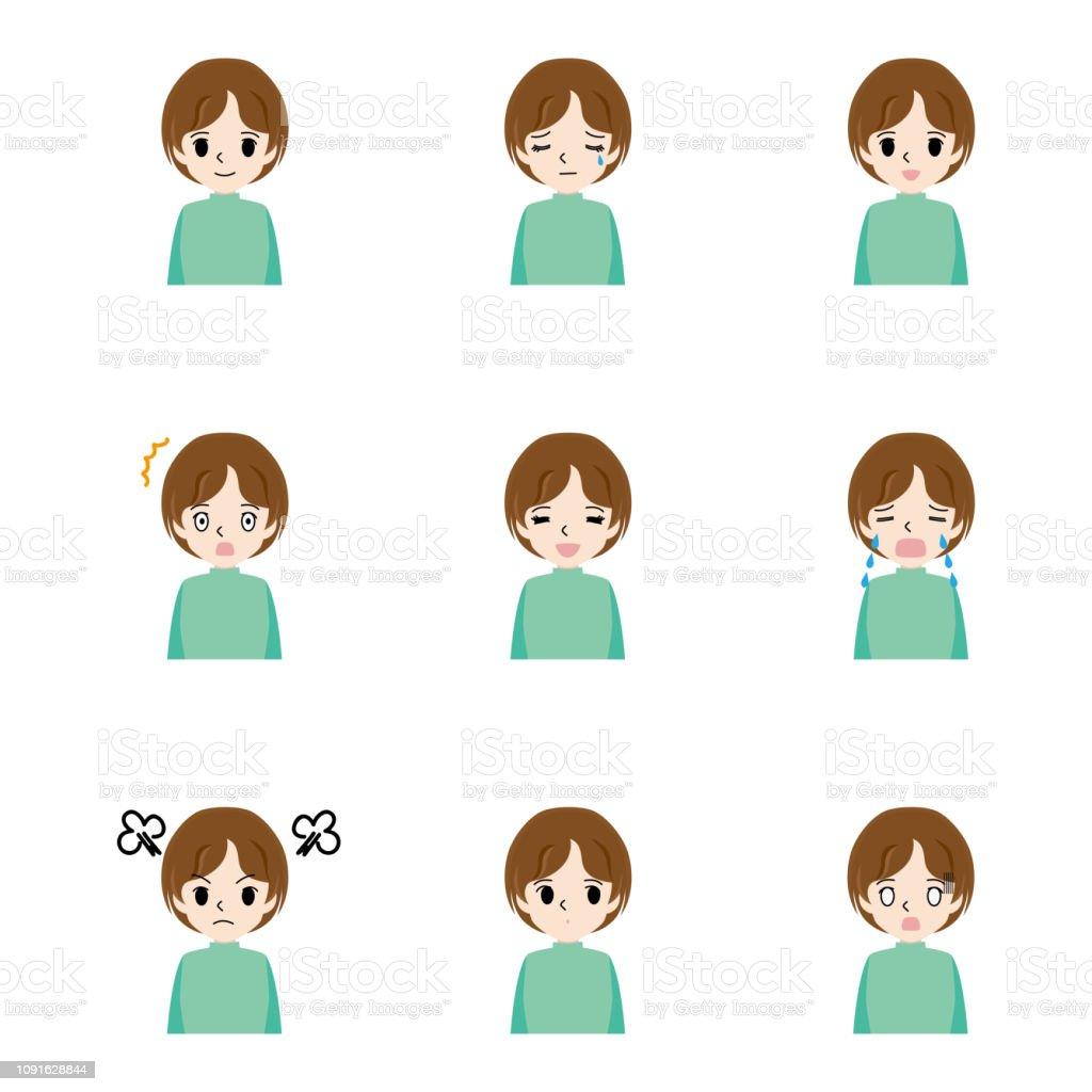 いろいろな表情の若い女性のイラスト セット 1人のベクターアート素材