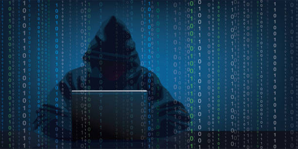Illustration showing a hacker stealing information from a computer. vector art illustration