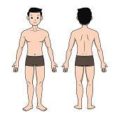 Illustration showing a boy body Standing without a shirt and wearing in a white background For assembly Or create teaching material for mothers who do Homeschool And teachers who find pictures for teaching materials such as flashcards or children's books.