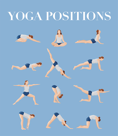 Illustration showing a variety of yoga poses