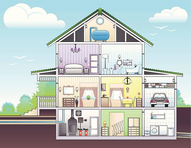 illustration mit cutaway-of-house - halbwände stock-grafiken, -clipart, -cartoons und -symbole